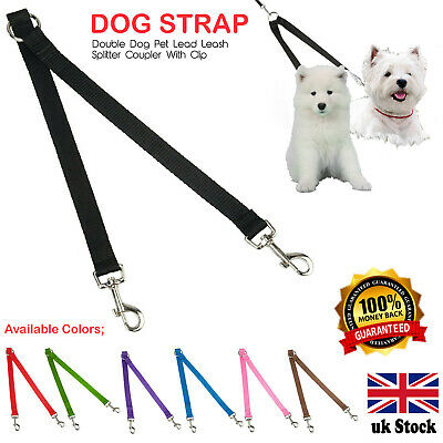 £4.49 • Buy Double Dog Pet Lead Leash Splitter Coupler With Clip For Collar Harness