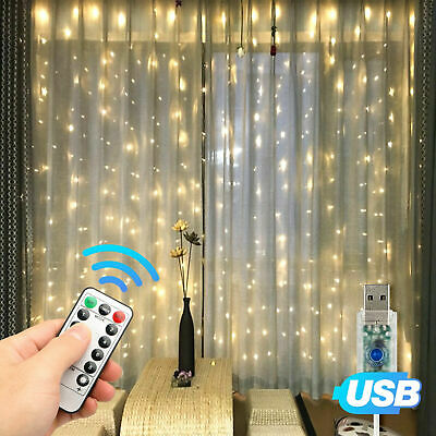 $10.99 • Buy 300LED Party Wedding Curtain Fairy Lights USB String Light Home W/Remote Control