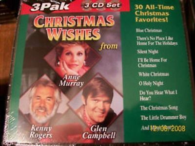 Christmas Wishes 3 Cd Set Holiday Music Glen Campbell Kenny Rodgers Anne Murray  • 9.99$