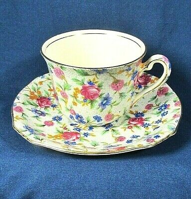 $ CDN27.48 • Buy Royal Winton Ascot Shape Flat Cup,Saucer Set Old Cottage Chintz Pre-1960,Cream