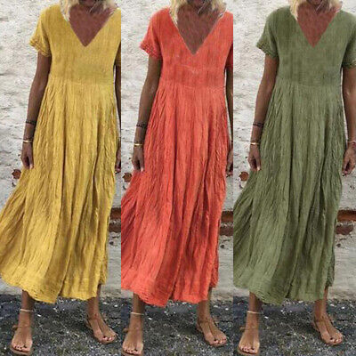 AU12.32 • Buy ZANZEA 8-24 Women Summer Plus Size Long Maxi Dress Short Sleeve Sundress Kaftan