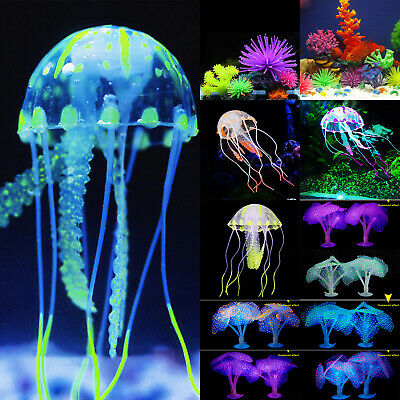 Aquarium Fish Tank Landscaping LED Light Decor Glowing Jellyfish Coral Ornament • 2.65£