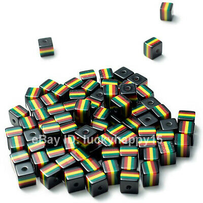 $2.48 • Buy 50pcs Black Square Cube Spacer Rasta Beads For DIY Jewelry Making Accessories