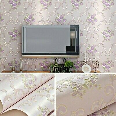 5M Self-Adhesive Non-woven Wall Sticker Damask Embossed Wallpaper Wall Decor • 18.61£