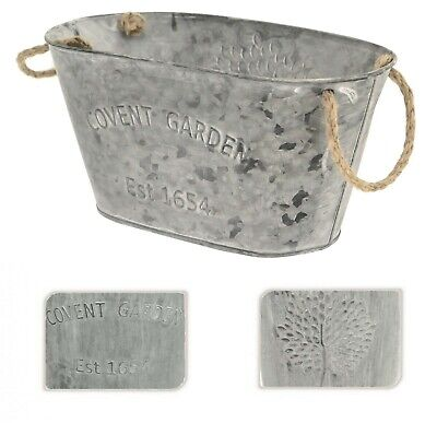 Covent Garden Mulberry Tree 25x14.5cm Oval Metal Tin Plant Flower Planter Pot • 5.99£