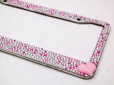 $7.95 • Buy Pink And Silver With Pink Heart Crystal Rhinestone License Plate Frame Car Auto