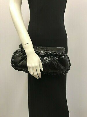 $21 • Buy Treesje Patent Leather Clutch Purse Black Ruffled Edges Fabulous Style