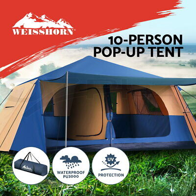 AU309.95 • Buy Weisshorn Instant Up Camping Tent 10 Person Pop Up Tents Family Hiking Dome Camp