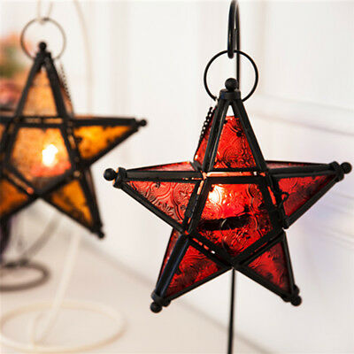 Moroccan Star Home Garden Lamps Hanging Tea Light Candle Holders Lanterns • 10.21$