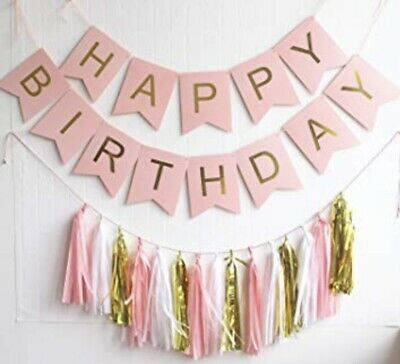 Birthday Banners Bunting Garland Decoration Tassles Pink And Blue Wedding Party  • 5.99£