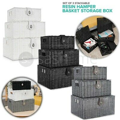 SET OF 3 Storage Baskets Resin Wicker Woven Hamper Box Lid & Lock Stackable UK • 19.95£