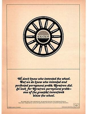 $ CDN13.19 • Buy 1968 Koratron Permanent Press Greatest Invention Since The Wheel Print Ad