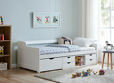 £229.99 • Buy Cabin Wooden Day Bed In White Kids Bed Childrens Bunk With Drawers 3FT Single