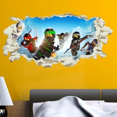 Lego Ninjago Wall Sticker Smashed Crack Kids Boys Bedroom Decal Gift Vinyl Art • 3.99£