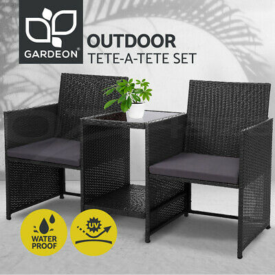 AU188.99 • Buy Gardeon Outdoor Furniture Wicker Chairs Table Setting Birstro Set Patio Garden