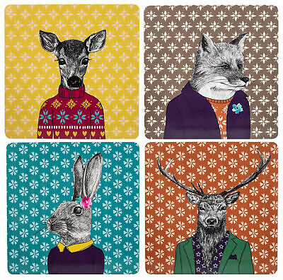 £16.95 • Buy Set Of 4 Quirky Woodland Creatures SQUARE Cork Backed PLACEMATS Table Mats,