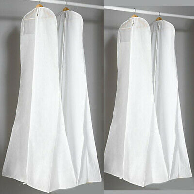 UK Breathable Long Garment Bag White Gown Cover Wedding Dress Storage Protector • 6.64£