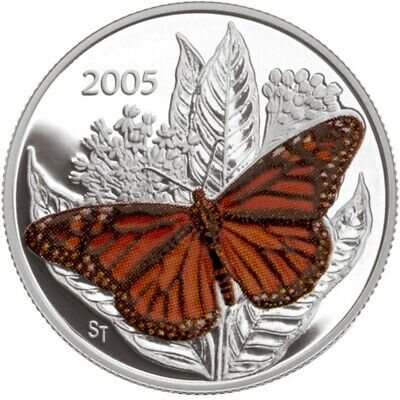 Monarch Butterfly - 2005 Canada 50 Cent Sterling Silver Coin • 30.28$