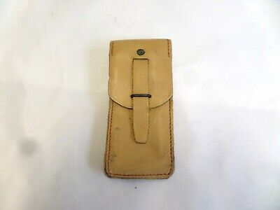 Vintage  French Army Tan Leather Ammo Pouch • 9£