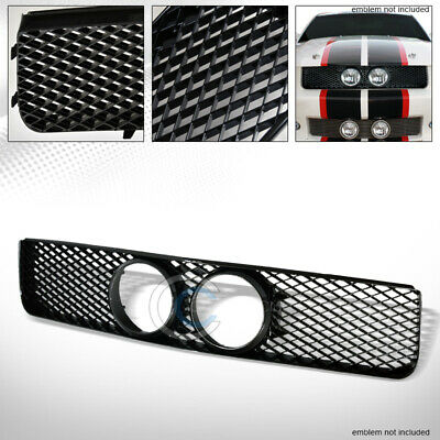 $71.95 • Buy Fit 05-09 Ford Mustang GT Glossy Black Mesh Front Bumper Grill Grille W/Fog Hole