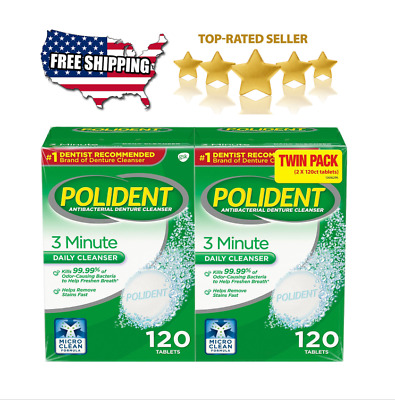 240 Polident 3 Minute Antibacterial Denture Cleanser Triple Mint Two 120 Tablets • 11.74$