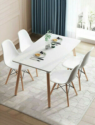 Retro Dining Table And Chairs 4 Set Wooden Legs Room Kitchen Lounge Chair White • 159.99$