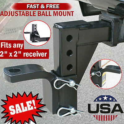 Adjustable Dual Ball Mount Drop Hitch Tow 2 In Receiver Heavy Duty Tow Truck RV • 37.75$