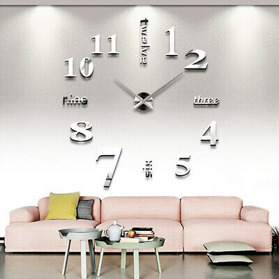 3D DIY Large Mirror Number Wall Clock Sticker Decor Luxury Home Kids Room Office • 9.99£