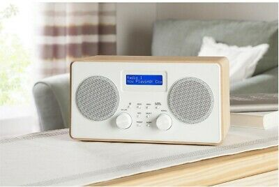 Tesco Wooden Stereo DAB And FM Portable Digital Radio - Wood/White B+ • 16.79£