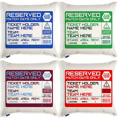PERSONALISED Football Cushion Cover Reserved Ticket Fan Christmas Gift TS • 12.95£