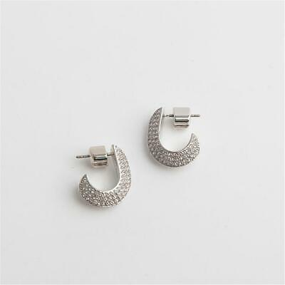 $ CDN34.35 • Buy Kate Spade New York Raise The Bar Pave Small Huggie Earrings Silver Tone