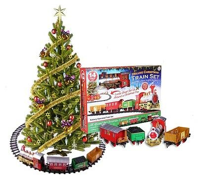 Deluxe Christmas Express Toy Train Set With Lights & Sounds - Tree Decorations • 14.95£