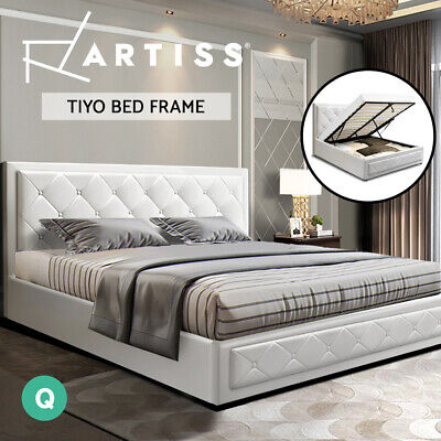 AU304 • Buy Artiss Bed Frame Queen Size Gas Lift Base With Storage Mattress Leather