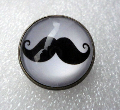 £3.99 • Buy ZPs Unusual Moustache Antique Bronze Style Domed Pin Badge Brooch Black