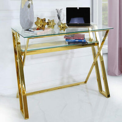 £265.95 • Buy Gold Steel Clear Tempered Glass Home Office Desk Laptop Table Lower Shelf