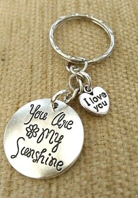 £1.95 • Buy You Are My Sunshine Romantic Keyring/Bag/Purse Charm  + I Love You Silver Heart