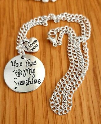 You Are My Sunshine + I Love You Heart Silver Charms & Chain 16  Or 18  Necklace • 2.45£