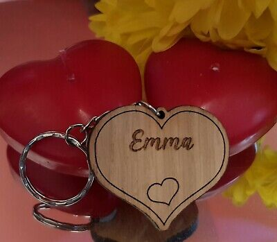 £2.99 • Buy Personalised Engraved Wooden Heart Keyring Keychain Any Name
