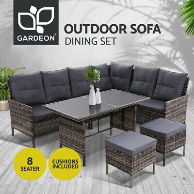 AU959.95 • Buy Outdoor Sofa Set Patio Furniture Lounge Setting Dining Chair Table Wicker Grey