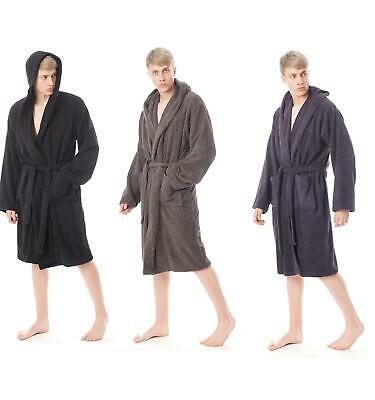 £15.95 • Buy Bath Robe Men's Hooded Towelling Dressing Gown 100% Cotton Terry Gowns Robes