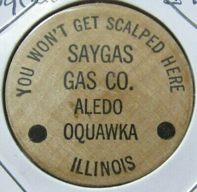 $ CDN6.74 • Buy Vintage Saygas Gas Co. Oquawka, IL Wooden Nickel - Token Illinois