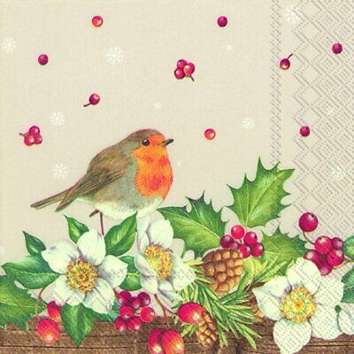 WELCOME RED ROBIN Linen Christmas Cocktail Tea Napkins 20 Pack 25cm Sq 3ply • 4.19£