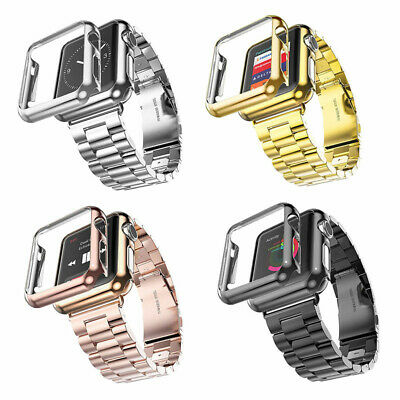 $ CDN7.36 • Buy For Apple Watch IWatch Series 4/3/2/1 Stainless Steel Watch Band +Screen Cover