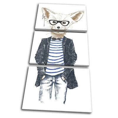 Hipster Animals Fennec Fox Vintage TREBLE CANVAS WALL ART Picture Print • 39.99£
