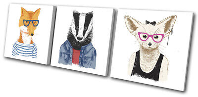 Hipster Fennec Fox Badger Vintage TREBLE CANVAS WALL ART Picture Print • 39.99£