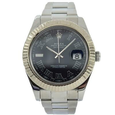 $ CDN11162.39 • Buy Rolex Datejust - 126334 - 18k White Gold Fluted Bezel W. Grey Roman Dial - 41mm