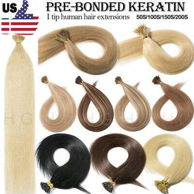 $23.12 • Buy 100S I Tip Stick Tip Remy Human Hair Extensions Pre-bonded Keratin Invisible HG