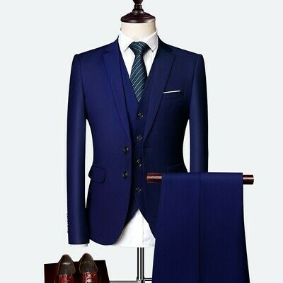 $ CDN172.04 • Buy Men Three-piece Business Casual Suit Tuxedos Wedding Groom Two Button Slim Fit