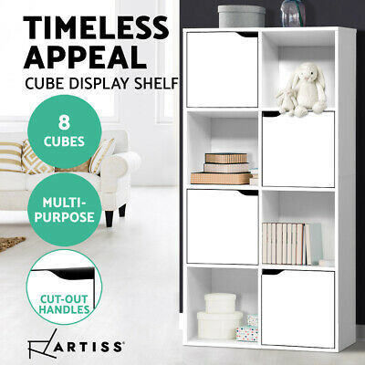 AU78.95 • Buy Artiss Display Shelf Bookshelf 8 Cube Storage Door Cabinet Organiser Unit White