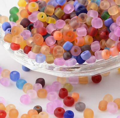 £2.49 • Buy 75g FROSTED GLASS SEED BEADS 11/0 2mm 8/0 3mm 6/0 4mm